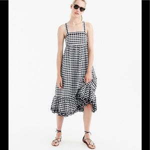 J.Crew Size 2 Puckered Gingham Dress Eyelet Trim